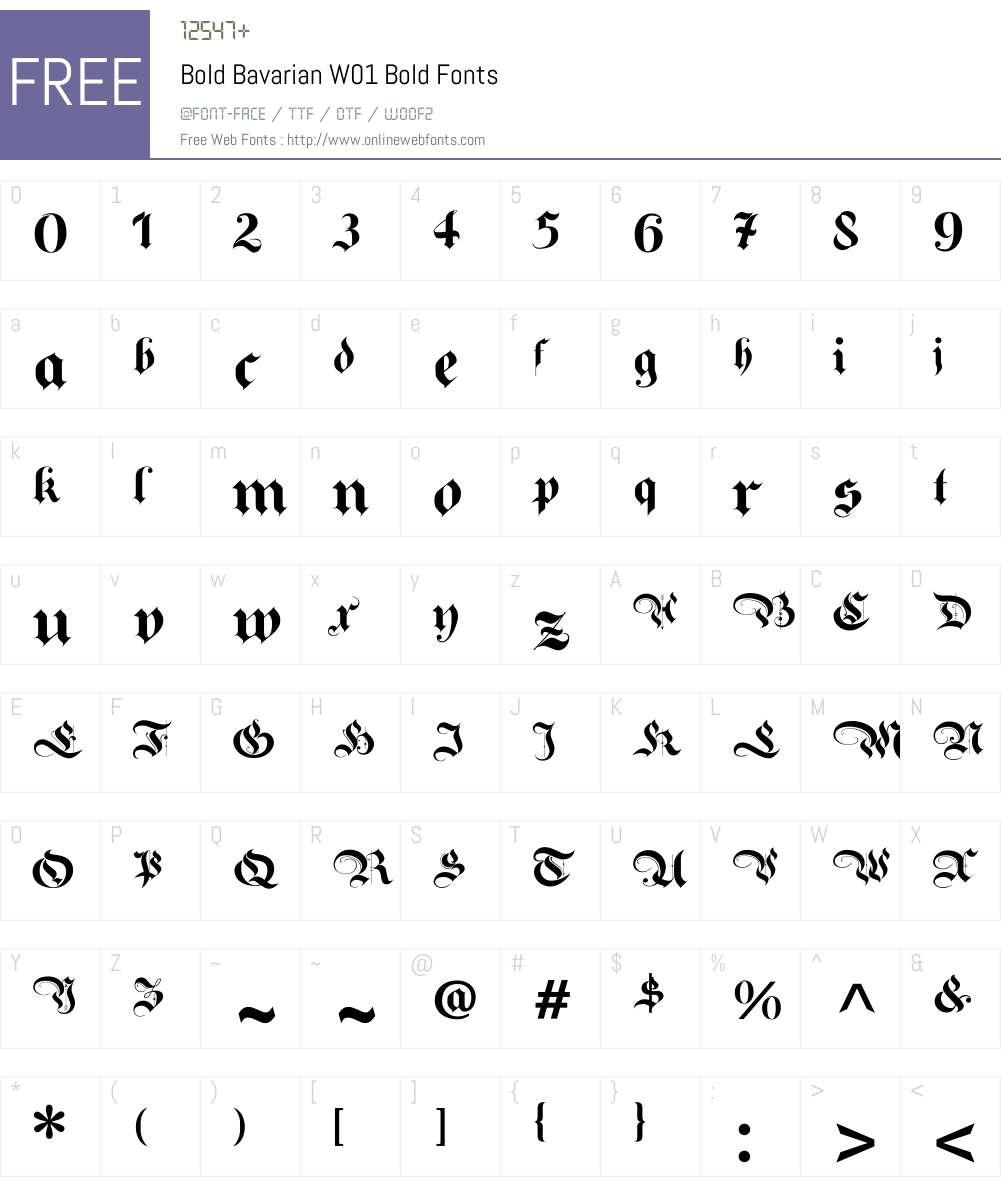 BoldBavarianW01-Bold Font Screenshots