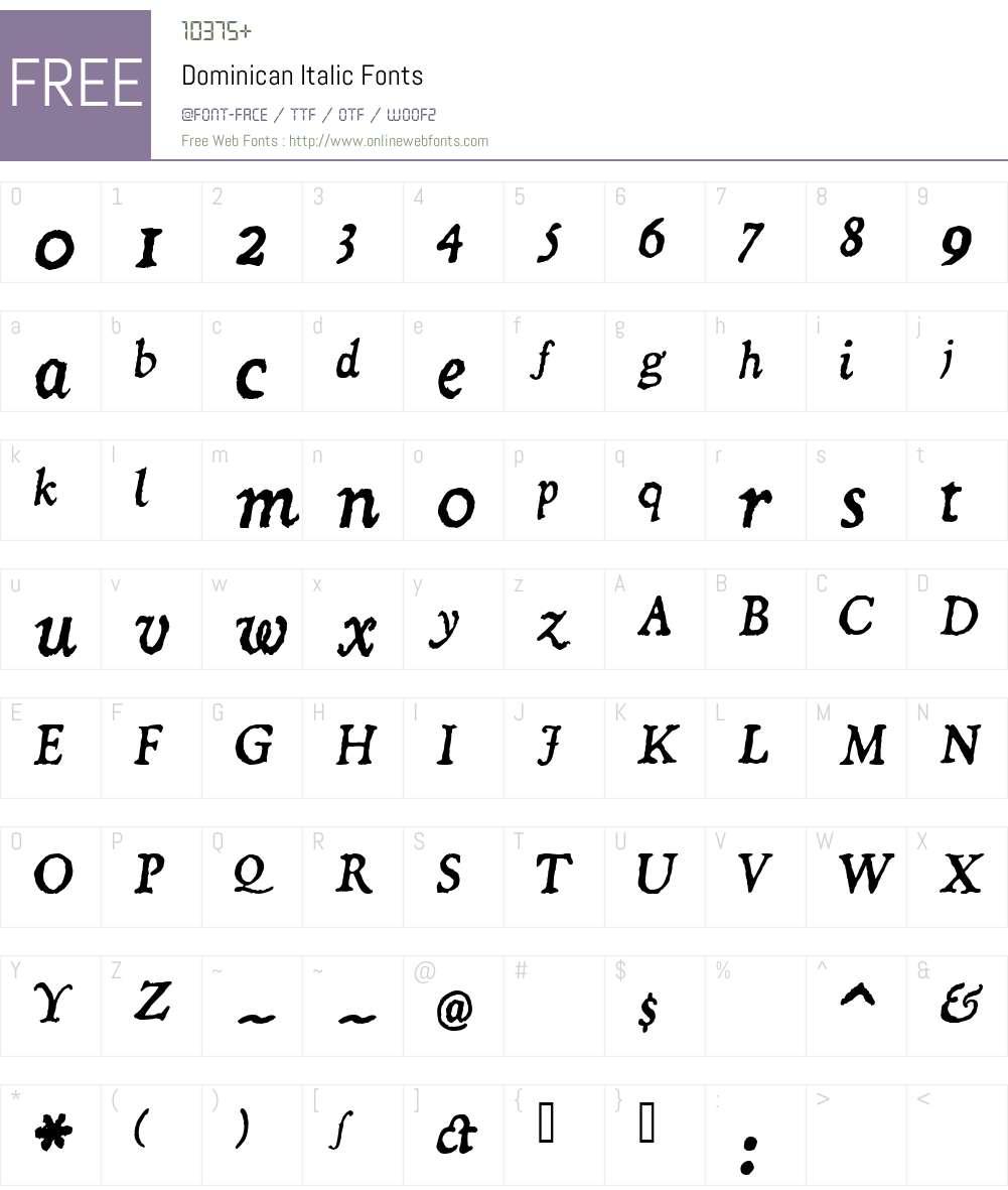Dominican Italic Font Screenshots