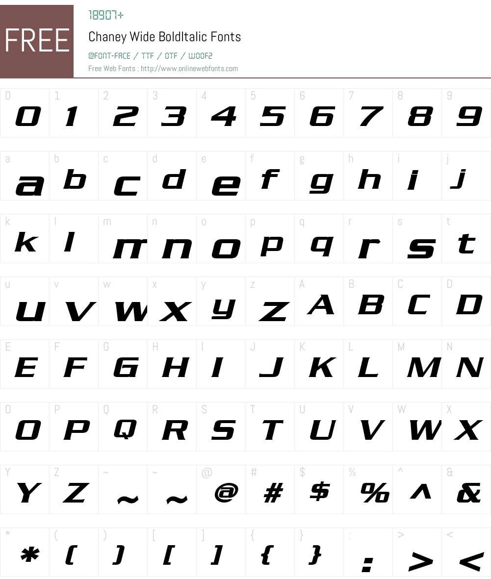 Chaney Wide Font Screenshots