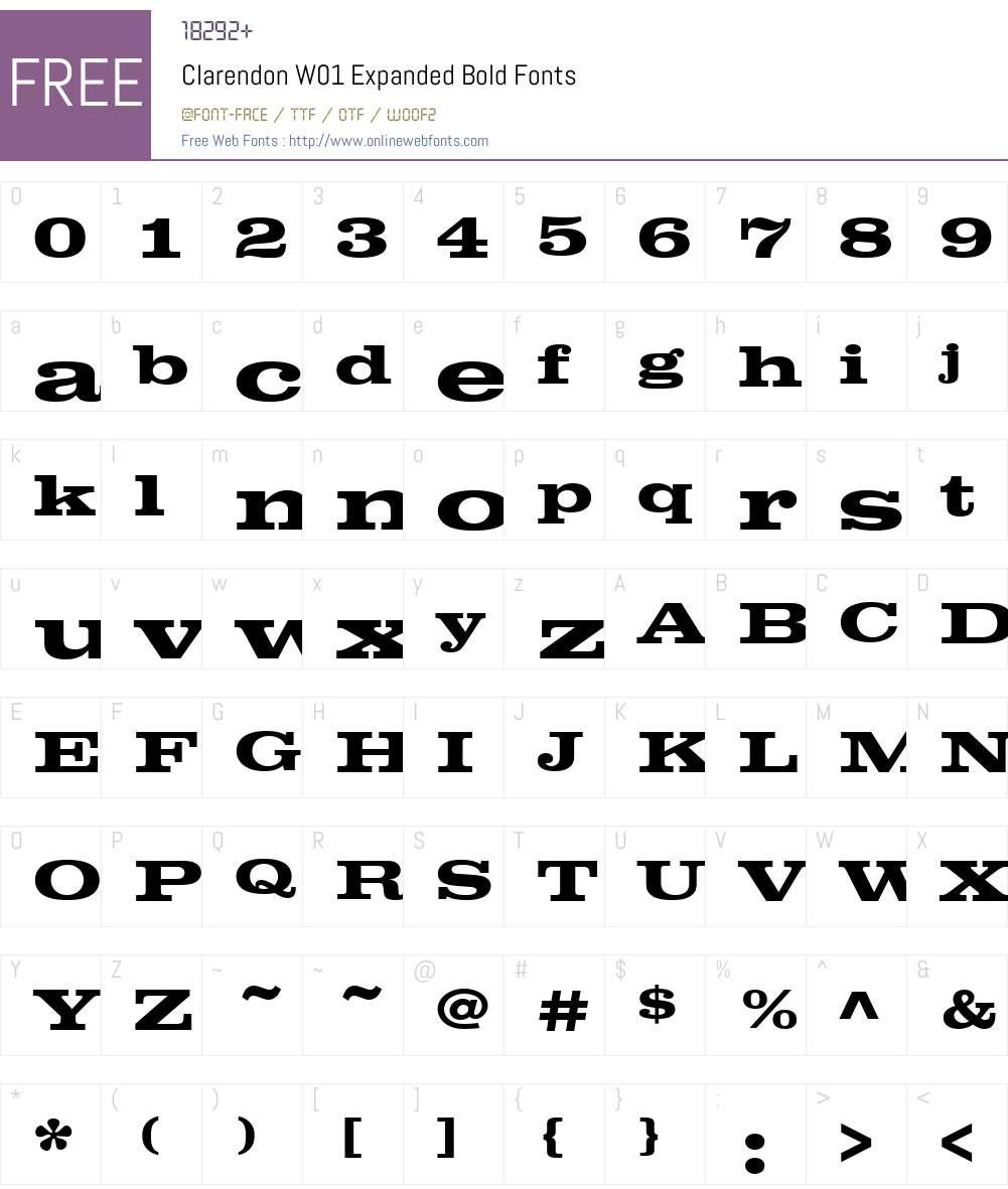 ClarendonW01-ExpandedBold Font Screenshots