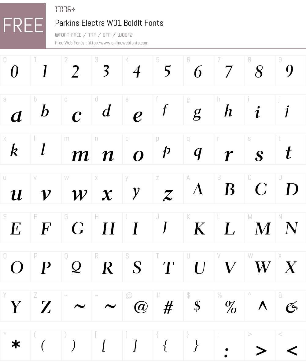 ParkinsElectraW01-BoldIt Font Screenshots