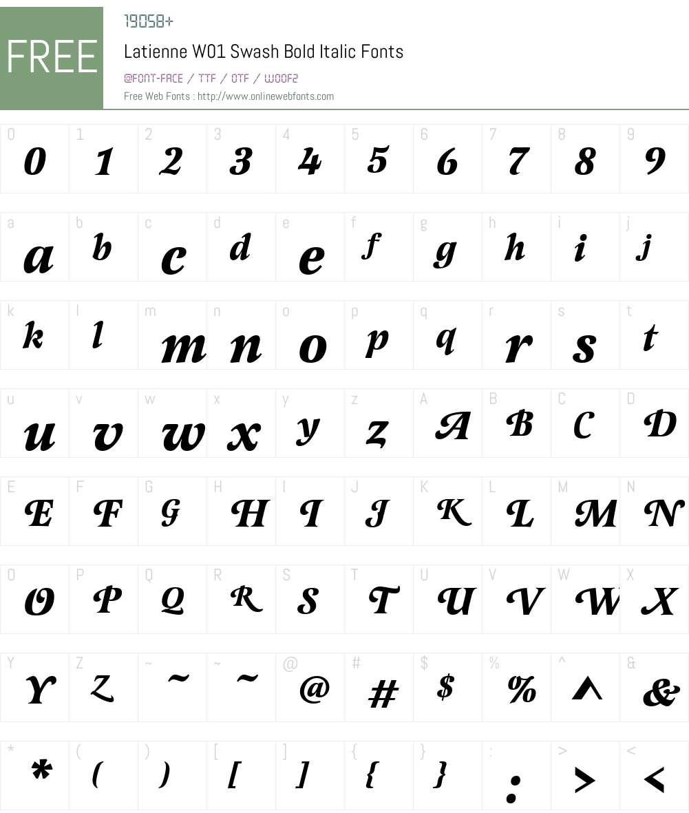 LatienneW01-SwashBoldItalic Font Screenshots