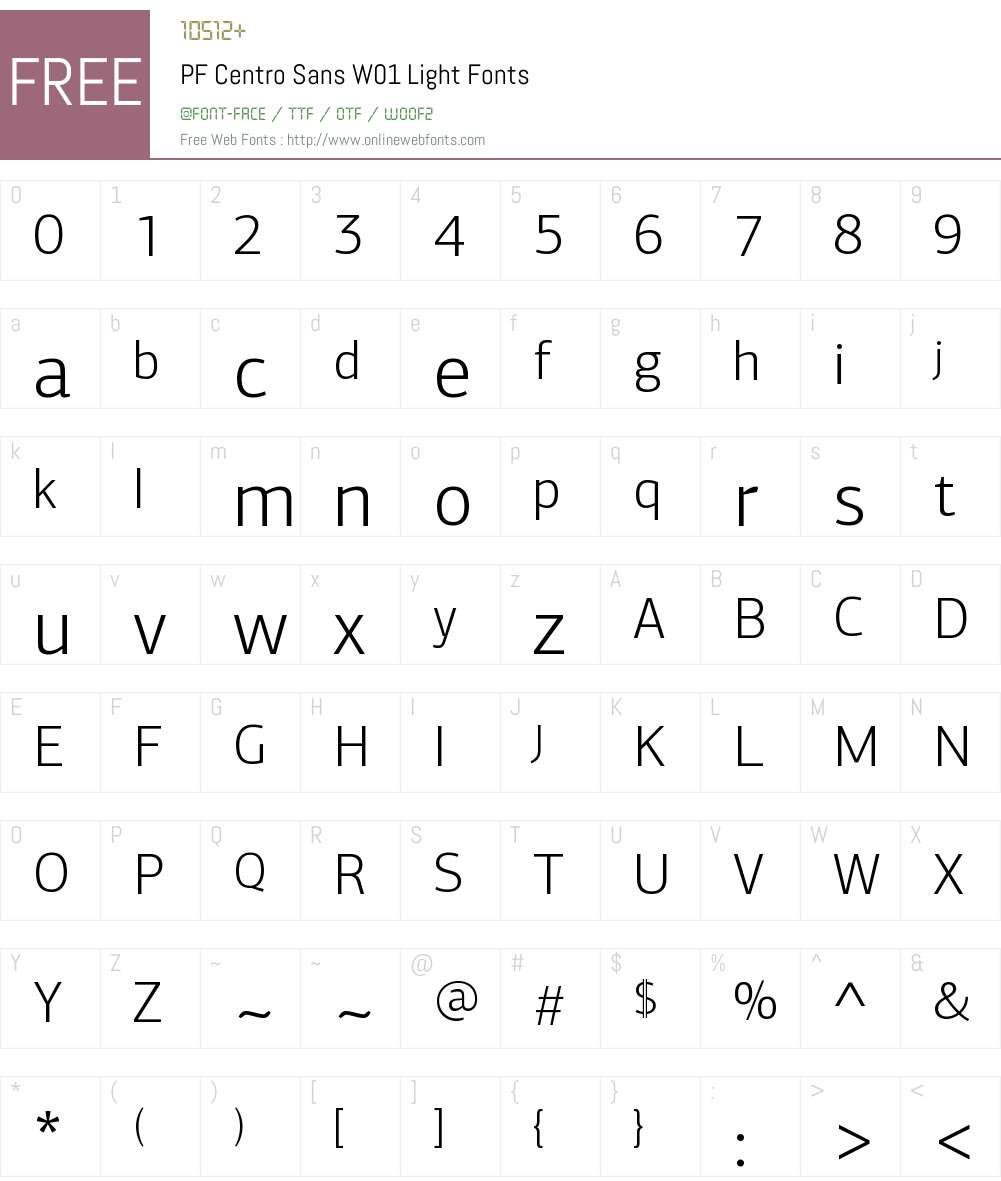 PFCentroSansW01-Light Font Screenshots