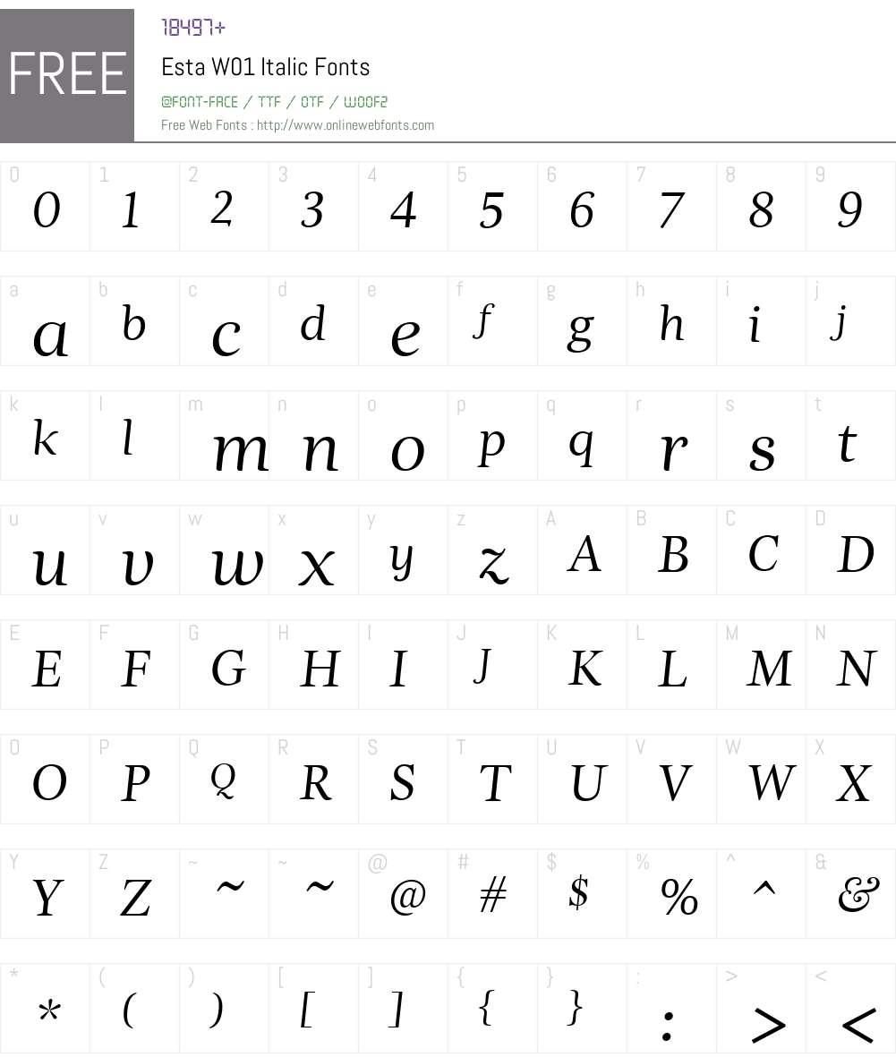 EstaW01-Italic Font Screenshots