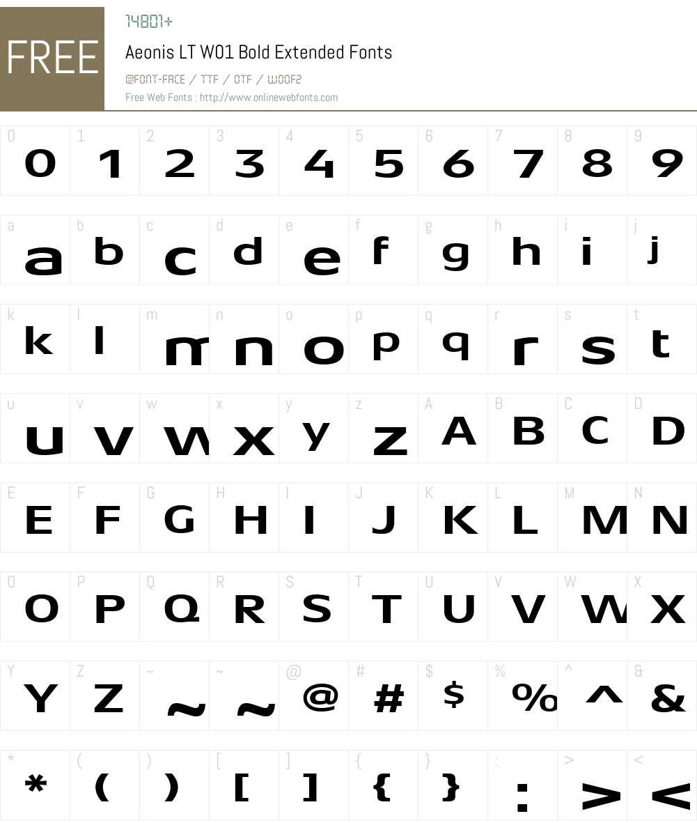 AeonisLTW01-BoldExtended Font Screenshots
