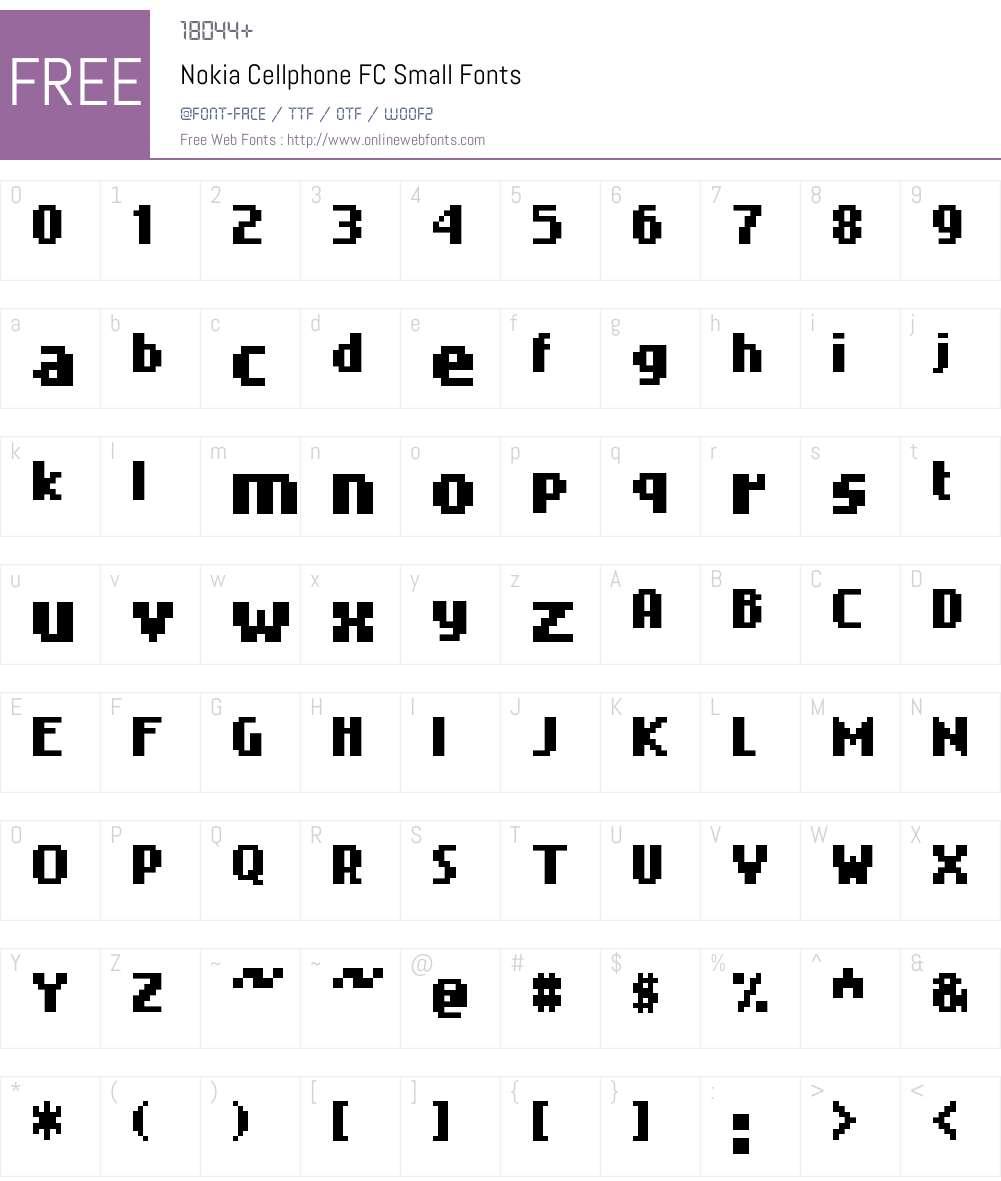 Nokia Cellphone FC Font Screenshots
