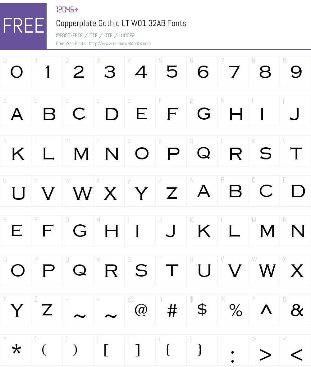CopperplateGothicLTW01-32AB Font Screenshots