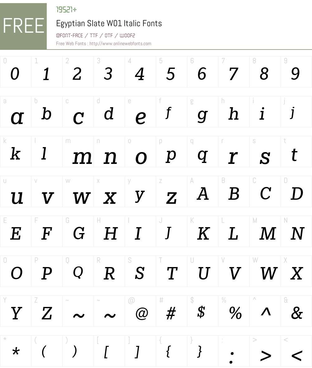 EgyptianSlateW01-Italic Font Screenshots