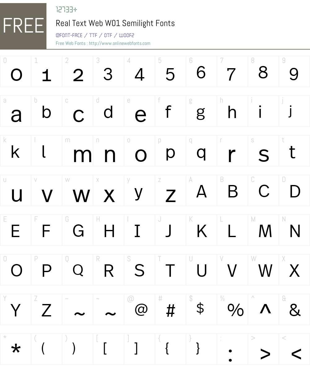 RealTextWebW01-Semilight Font Screenshots