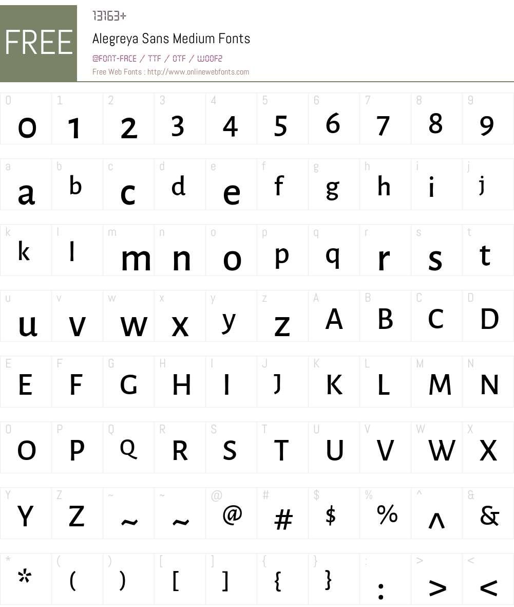 Alegreya Sans Medium Font Screenshots