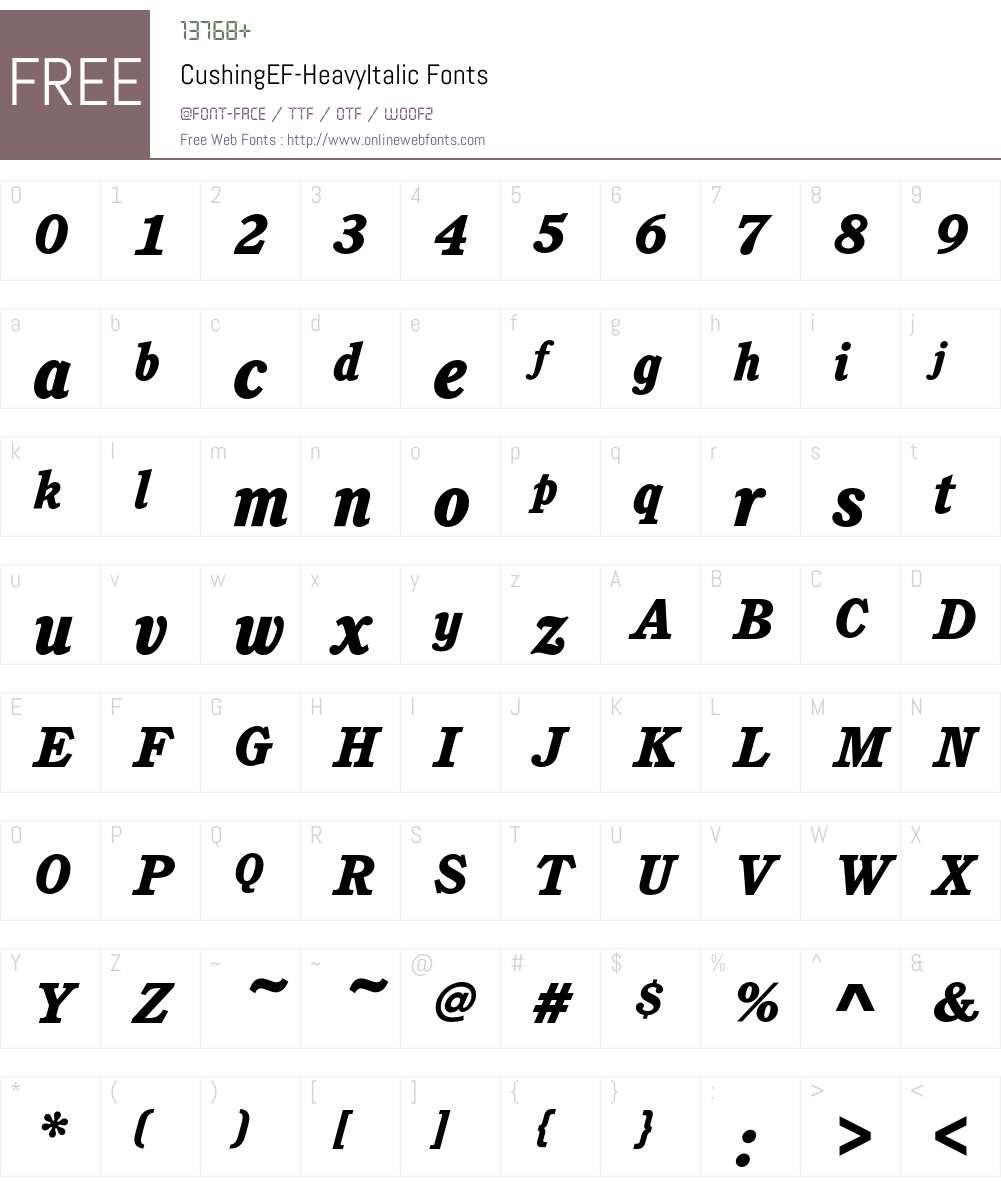 CushingEF-HeavyItalic Font Screenshots