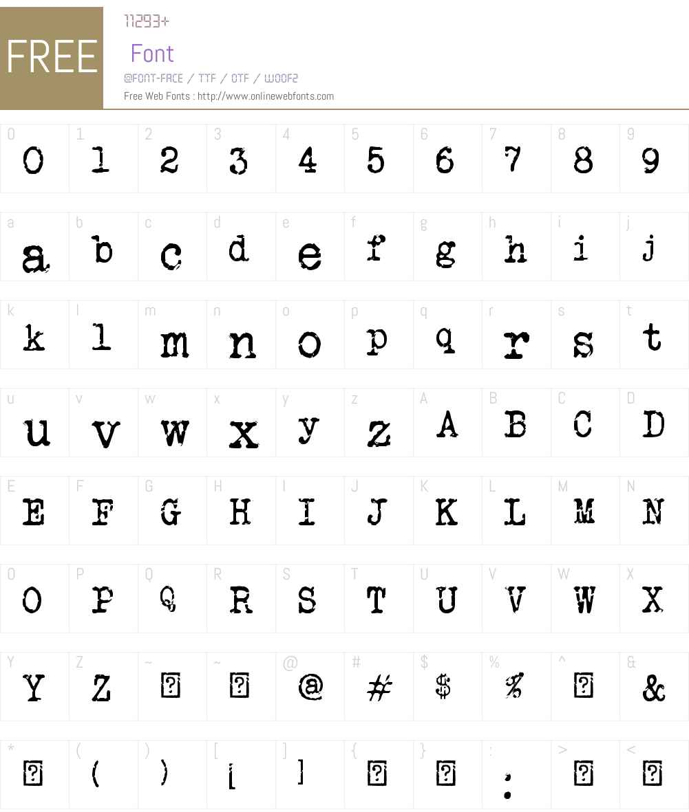 Veteran Typewriter Font Screenshots