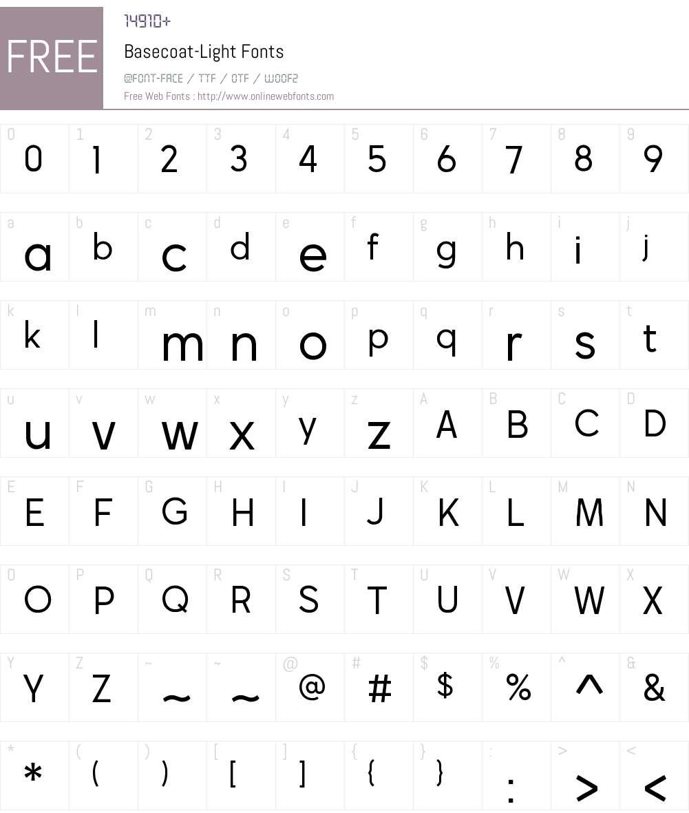 Basecoat Light Font Screenshots
