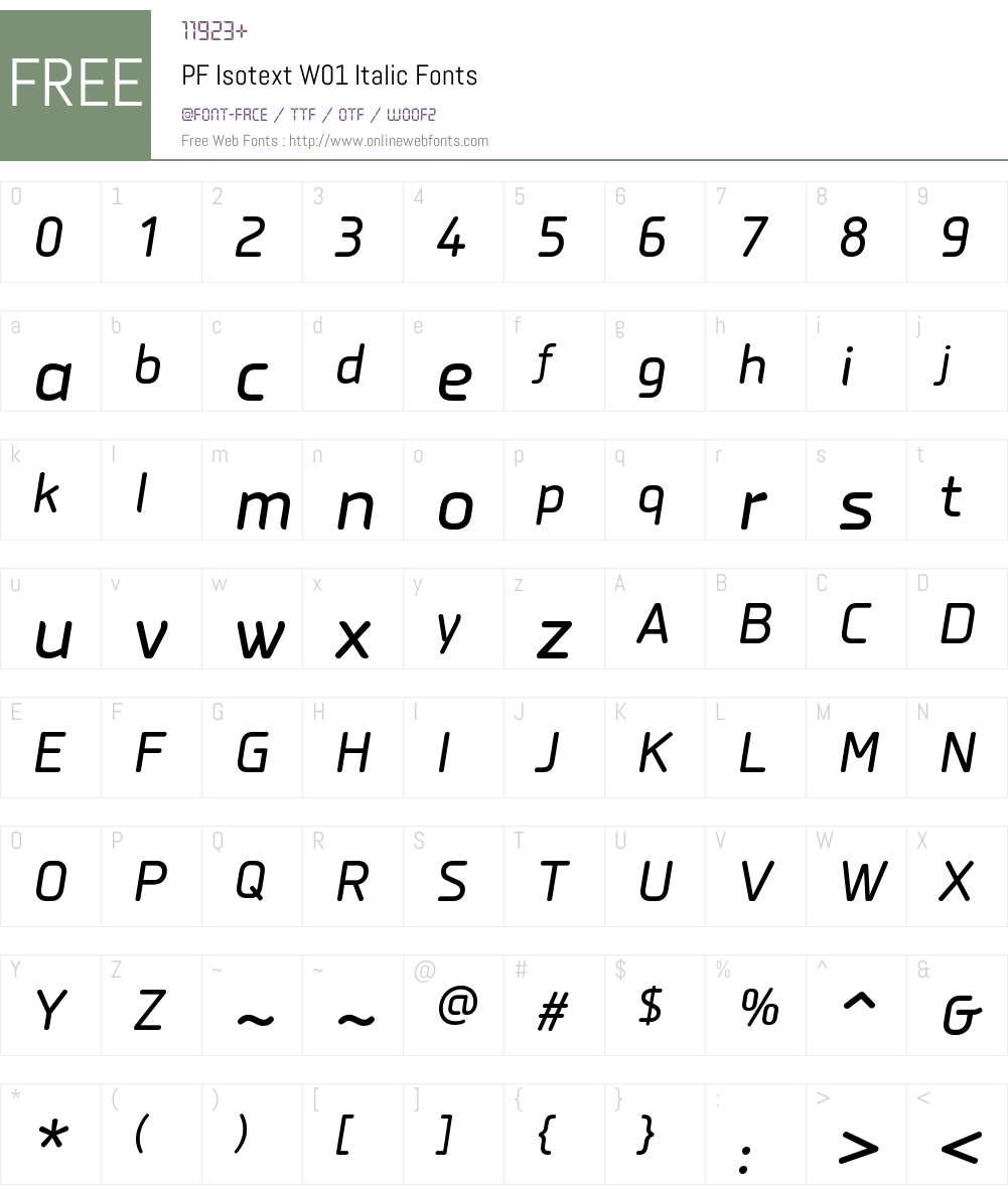 PFIsotextW01-Italic Font Screenshots
