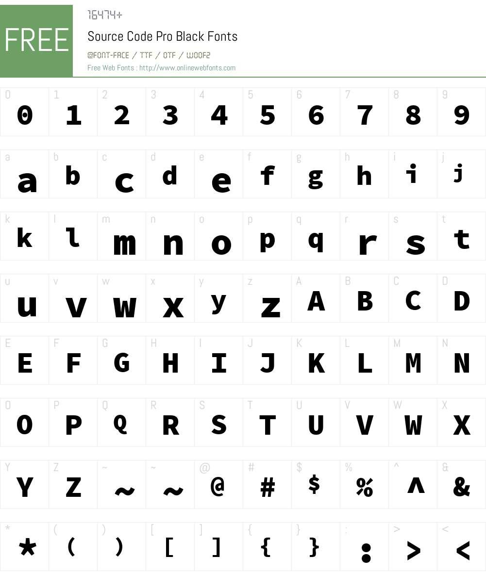 Source Code Pro Black Font Screenshots