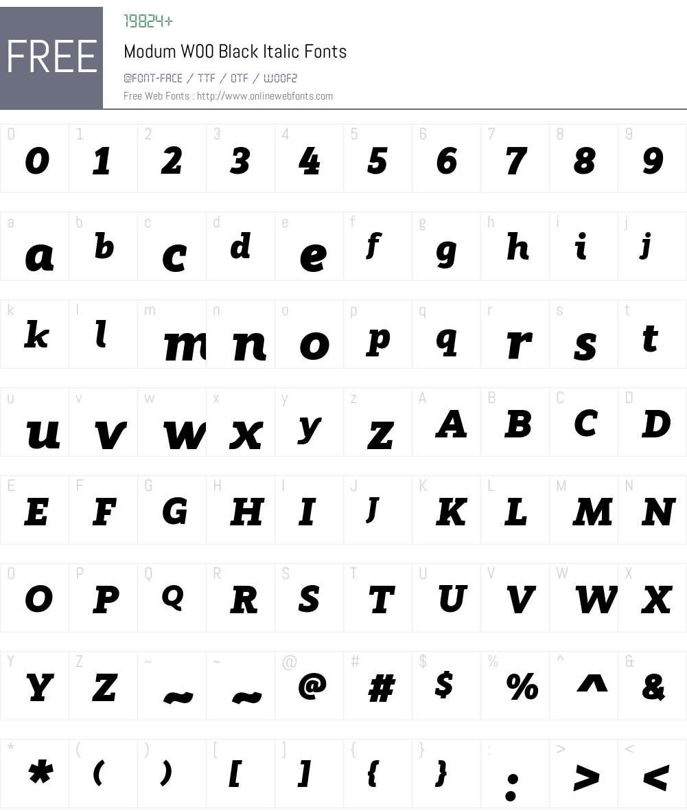 ModumW00-BlackItalic Font Screenshots