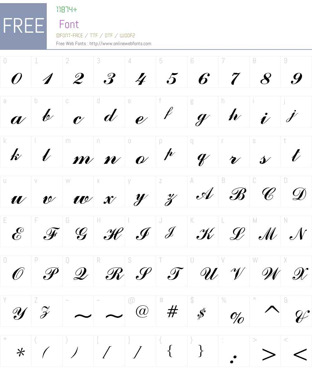 CommercialScript BT Font Screenshots