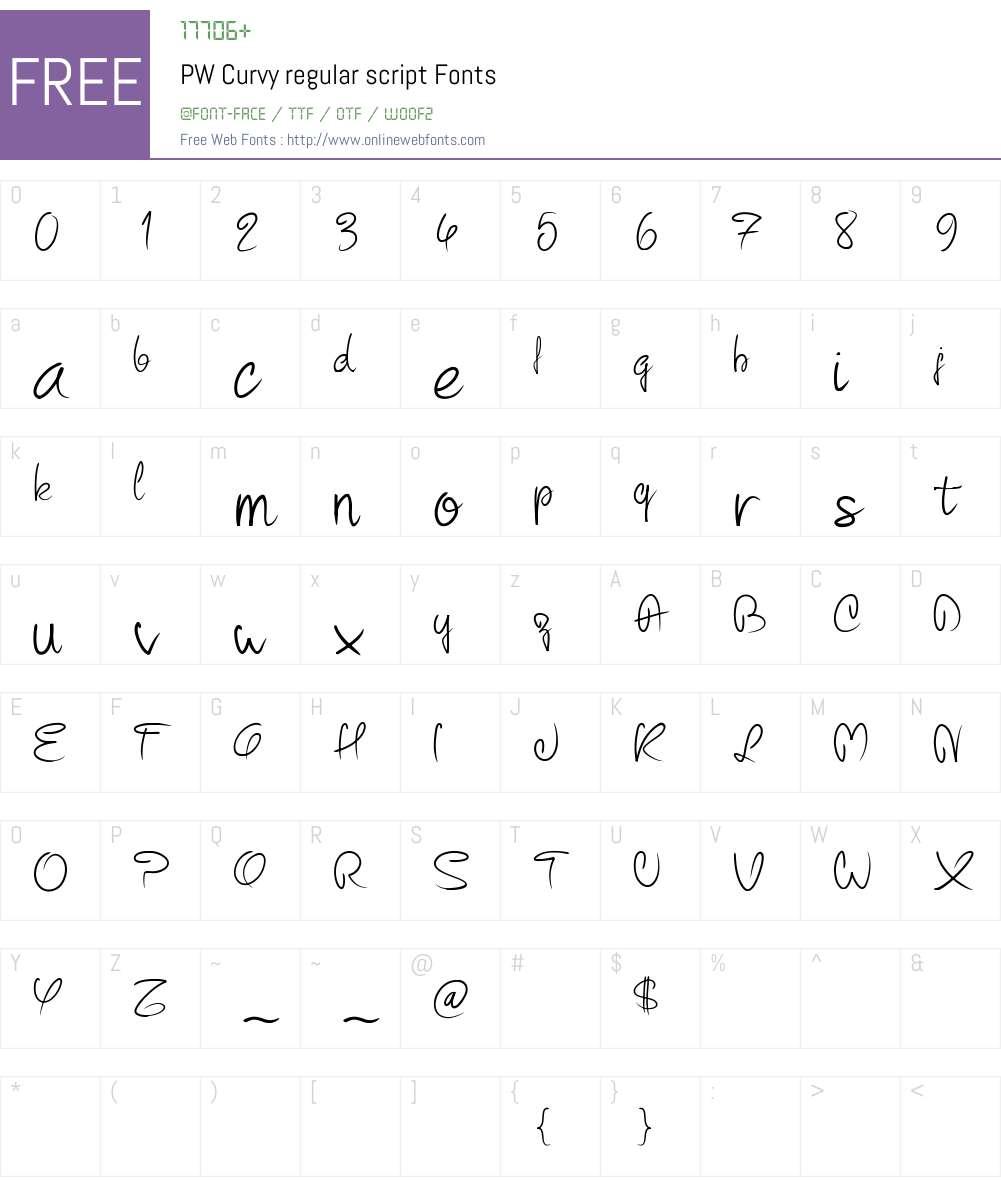 PW Curvy regular script Font Screenshots