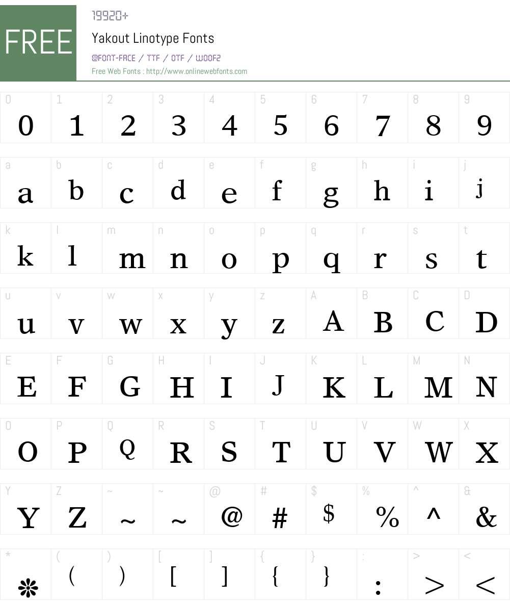 Yakout Linotype Font Screenshots