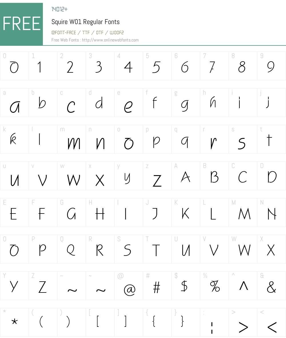 SquireW01-Regular Font Screenshots