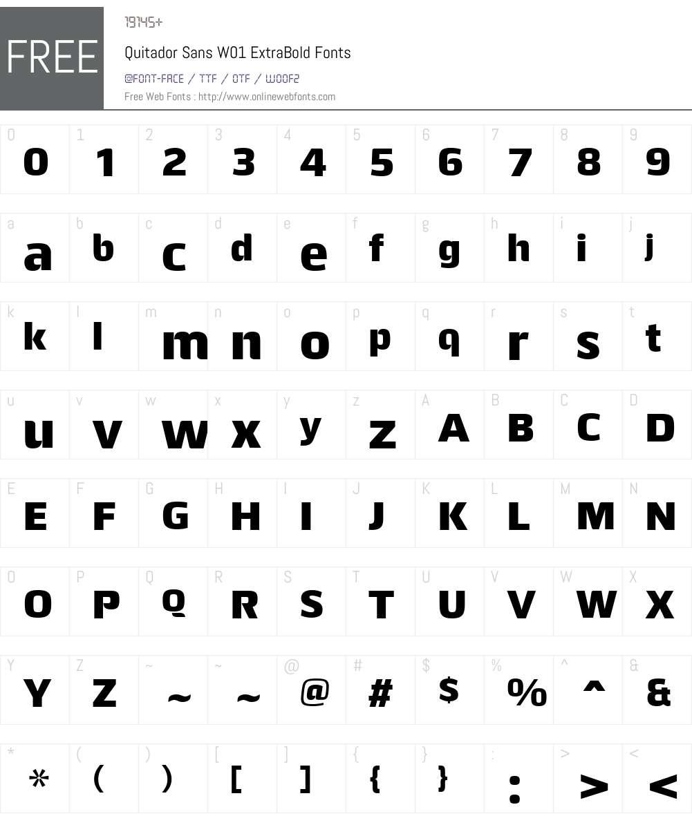 QuitadorSansW01-ExtraBold Font Screenshots