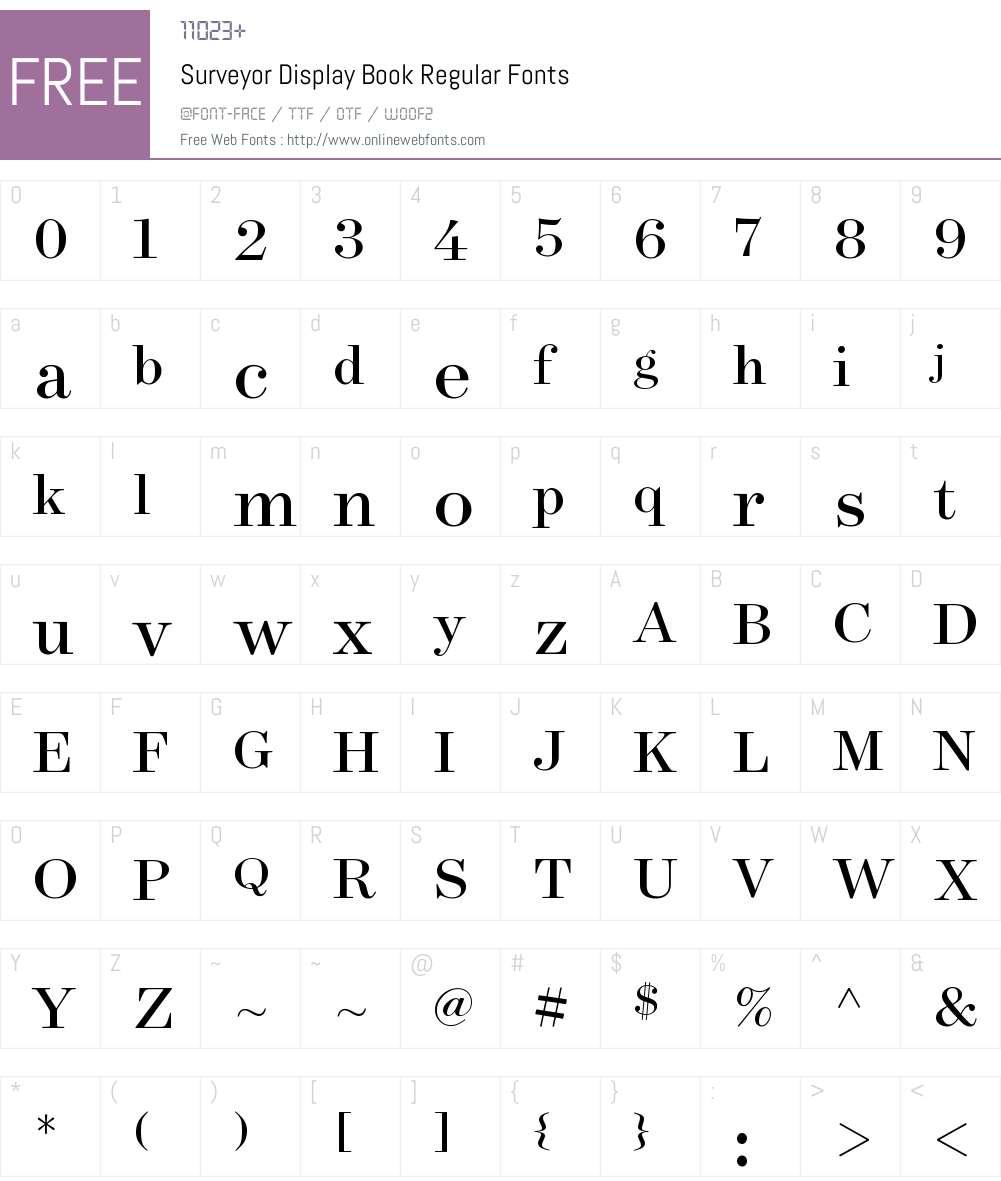 Surveyor Display Book Font Screenshots