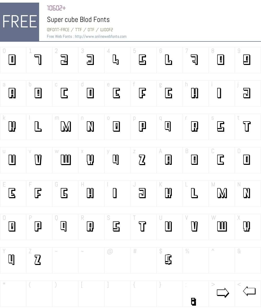 Super cube Blod Font Screenshots