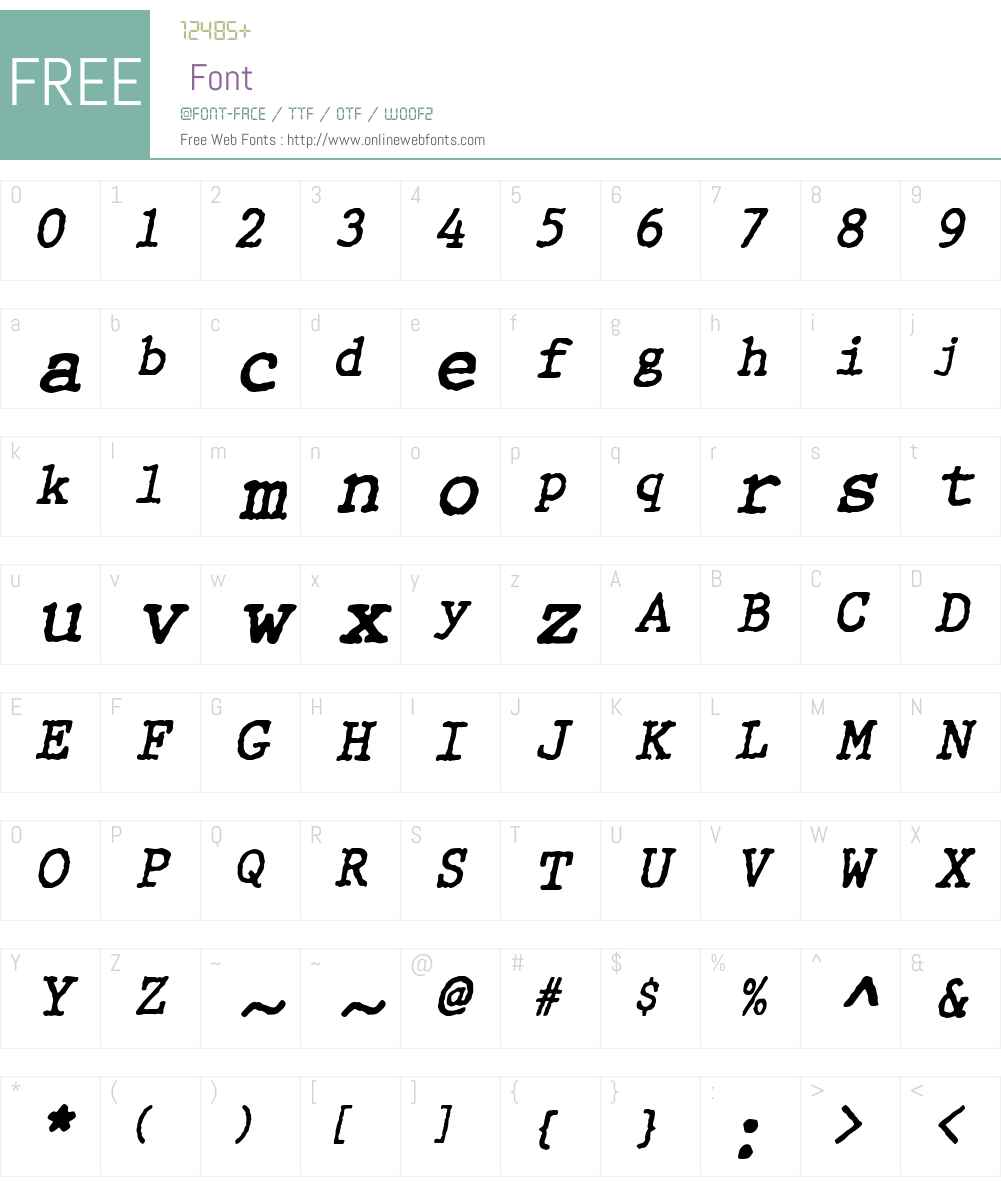 WBXGrannyT Font Screenshots