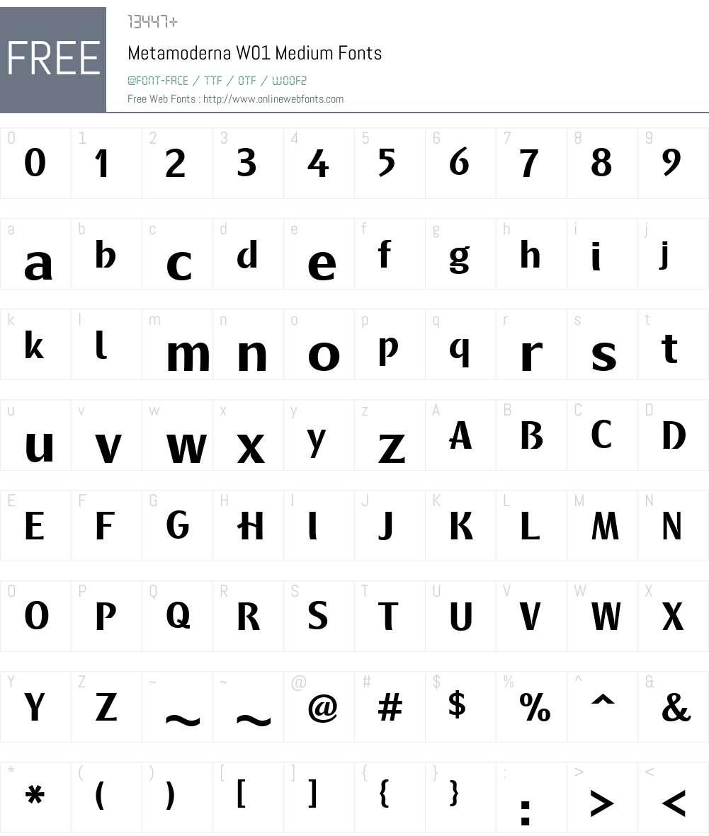 MetamodernaW01-Medium Font Screenshots