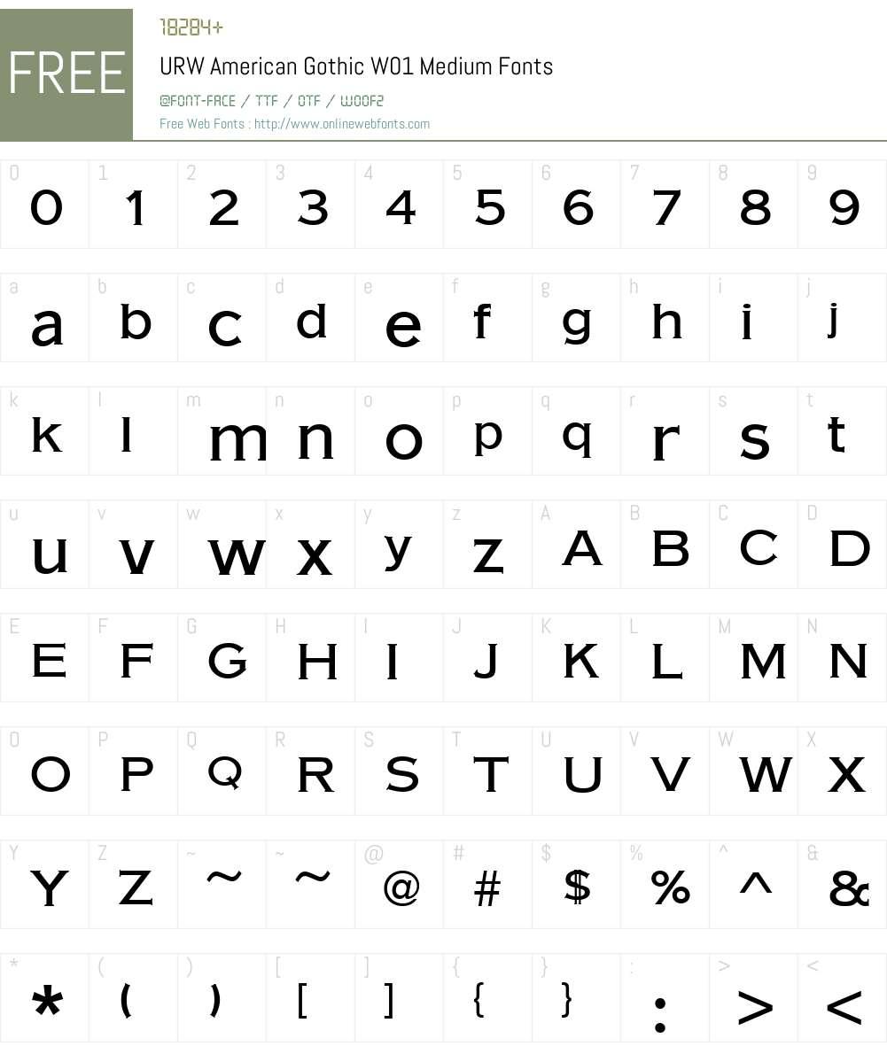 URWAmericanGothicW01-Medium Font Screenshots