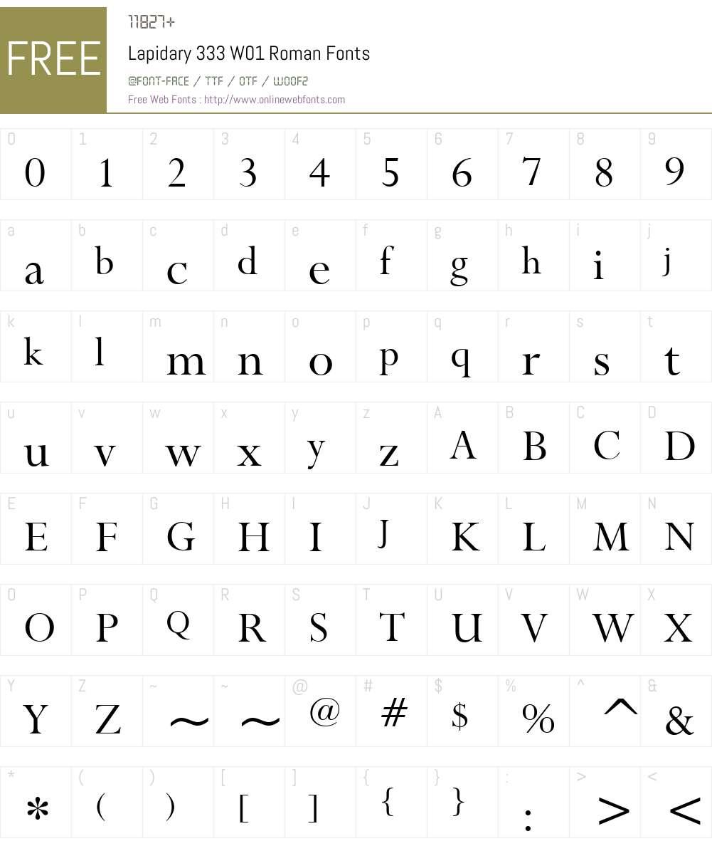 Lapidary333W01-Roman Font Screenshots