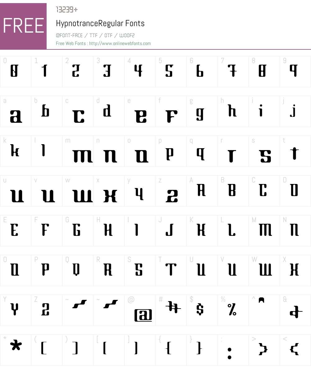 HypnotranceW01-Reg Font Screenshots