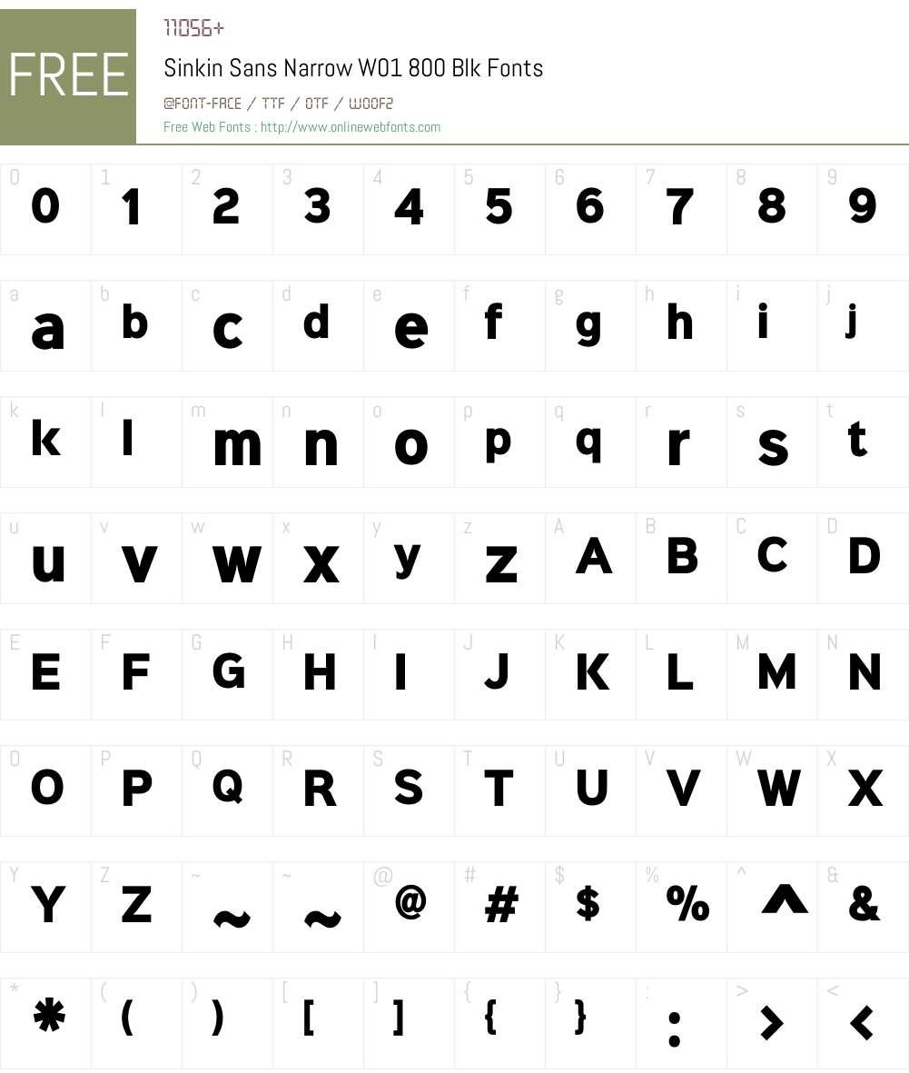 SinkinSansNarrowW01-800Blk Font Screenshots