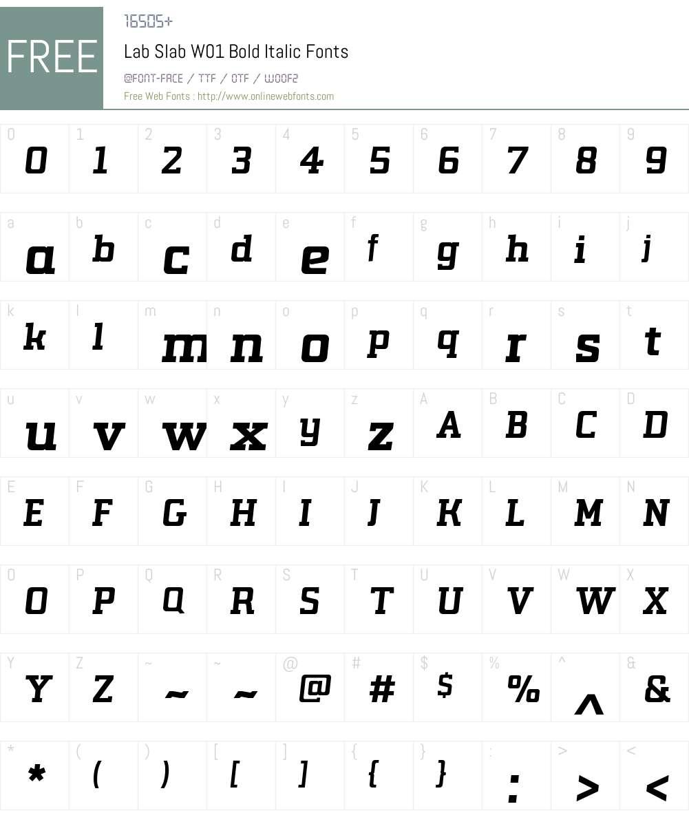 LabSlabW01-BoldItalic Font Screenshots
