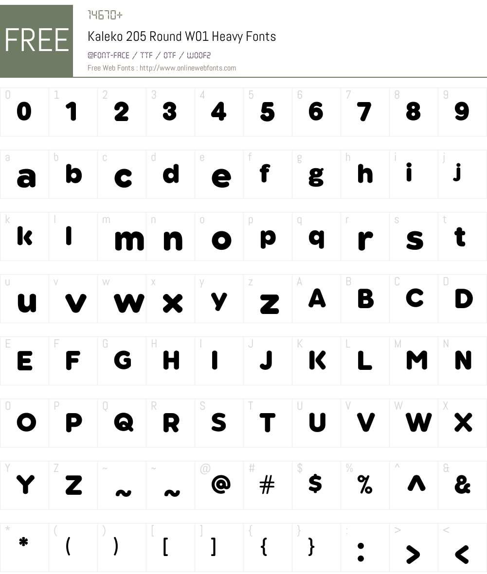 Kaleko205RoundW01-Heavy Font Screenshots