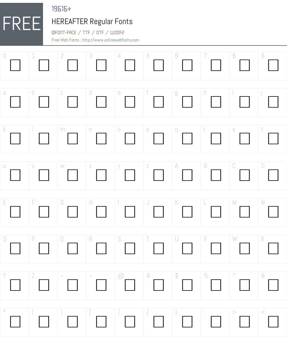 HEREAFTER Font Screenshots
