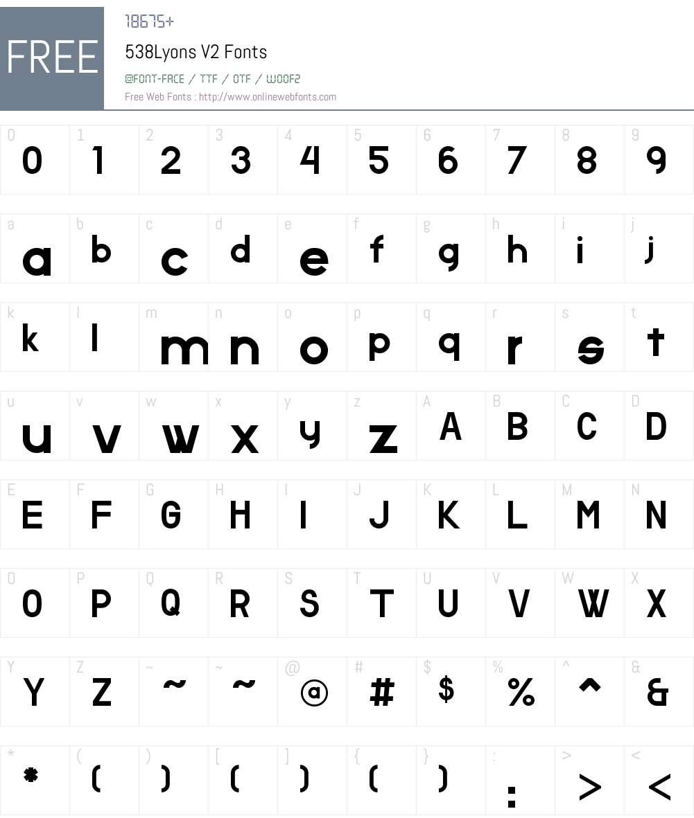 538Lyons V2 Font Screenshots