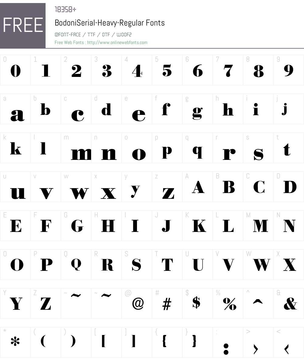 BodoniSerial-Heavy Font Screenshots