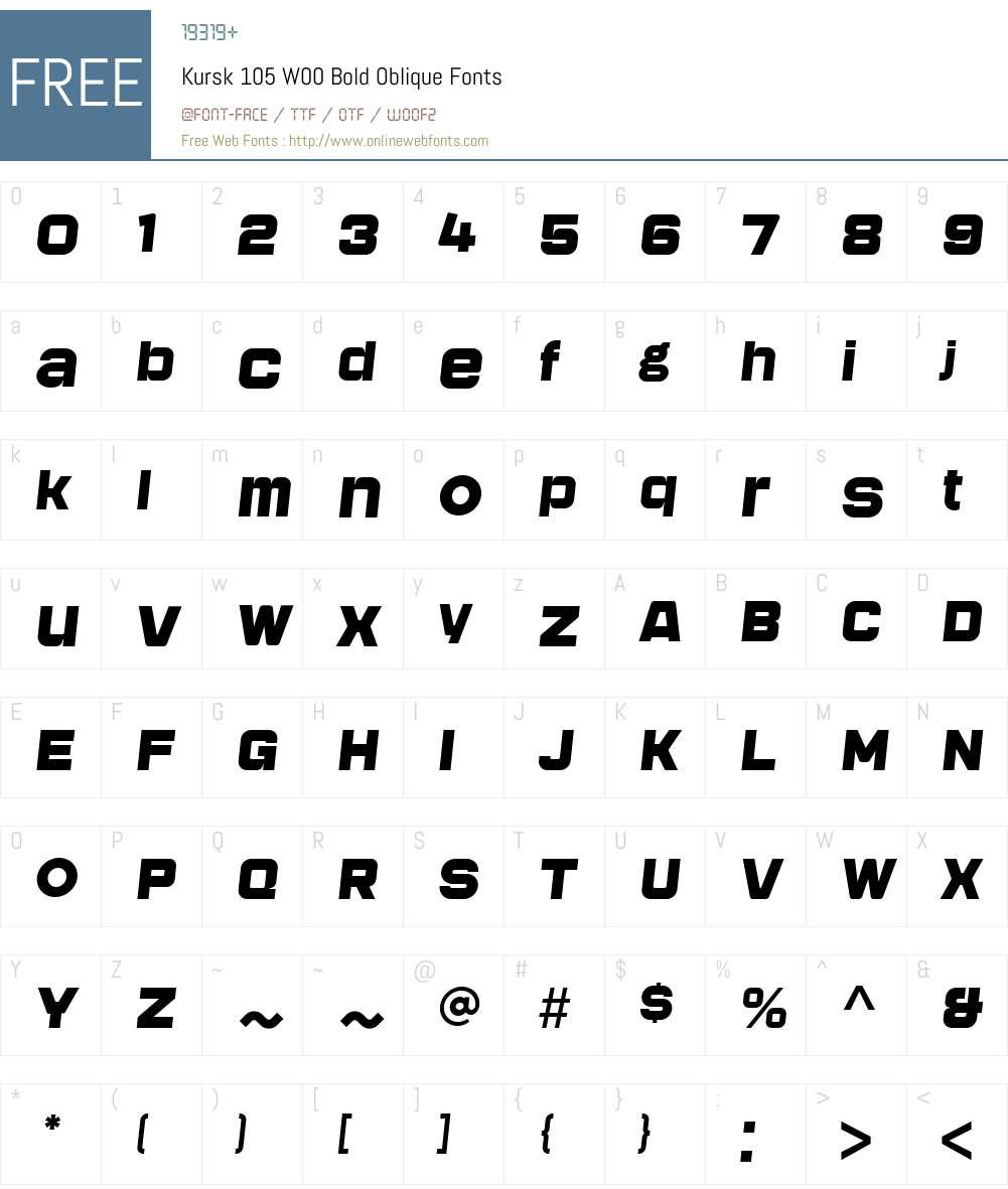 Kursk105W00-BoldOblique Font Screenshots