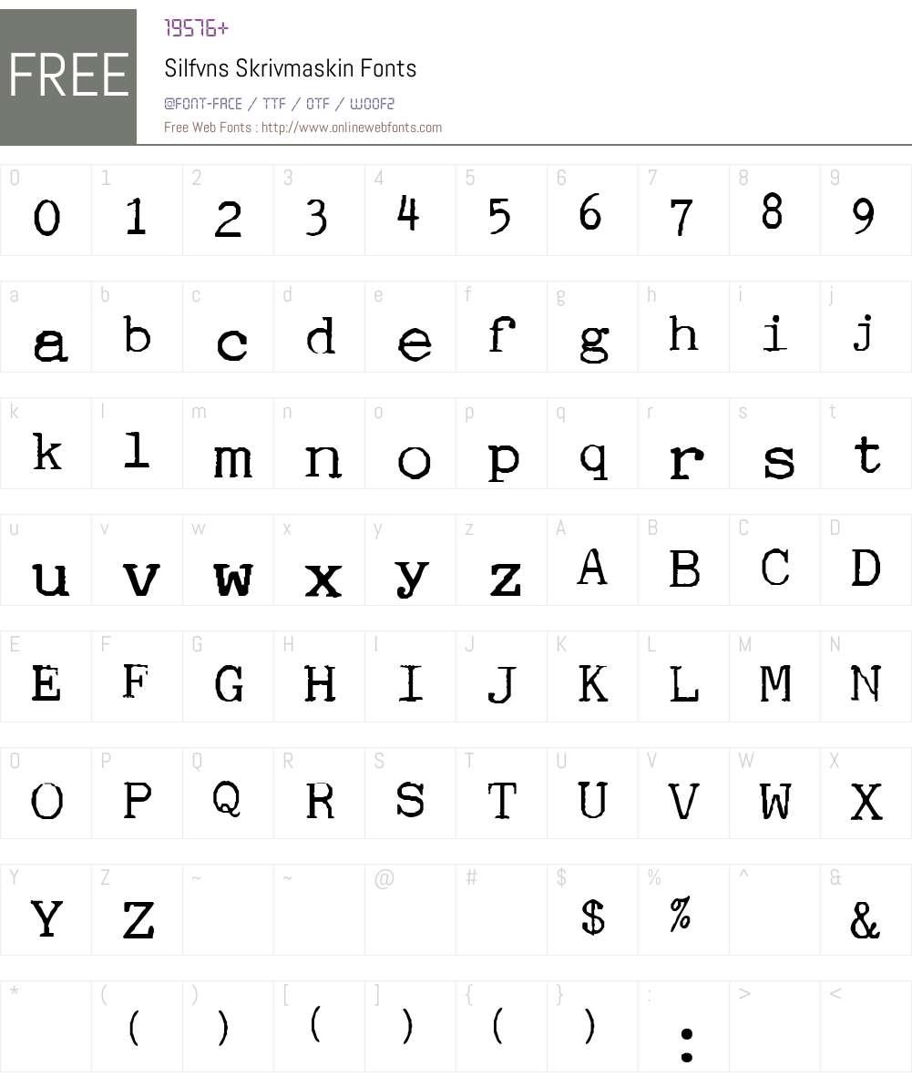Silfvns Skrivmaskin Font Screenshots
