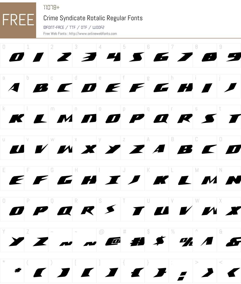 Crime Syndicate Rotalic Font Screenshots