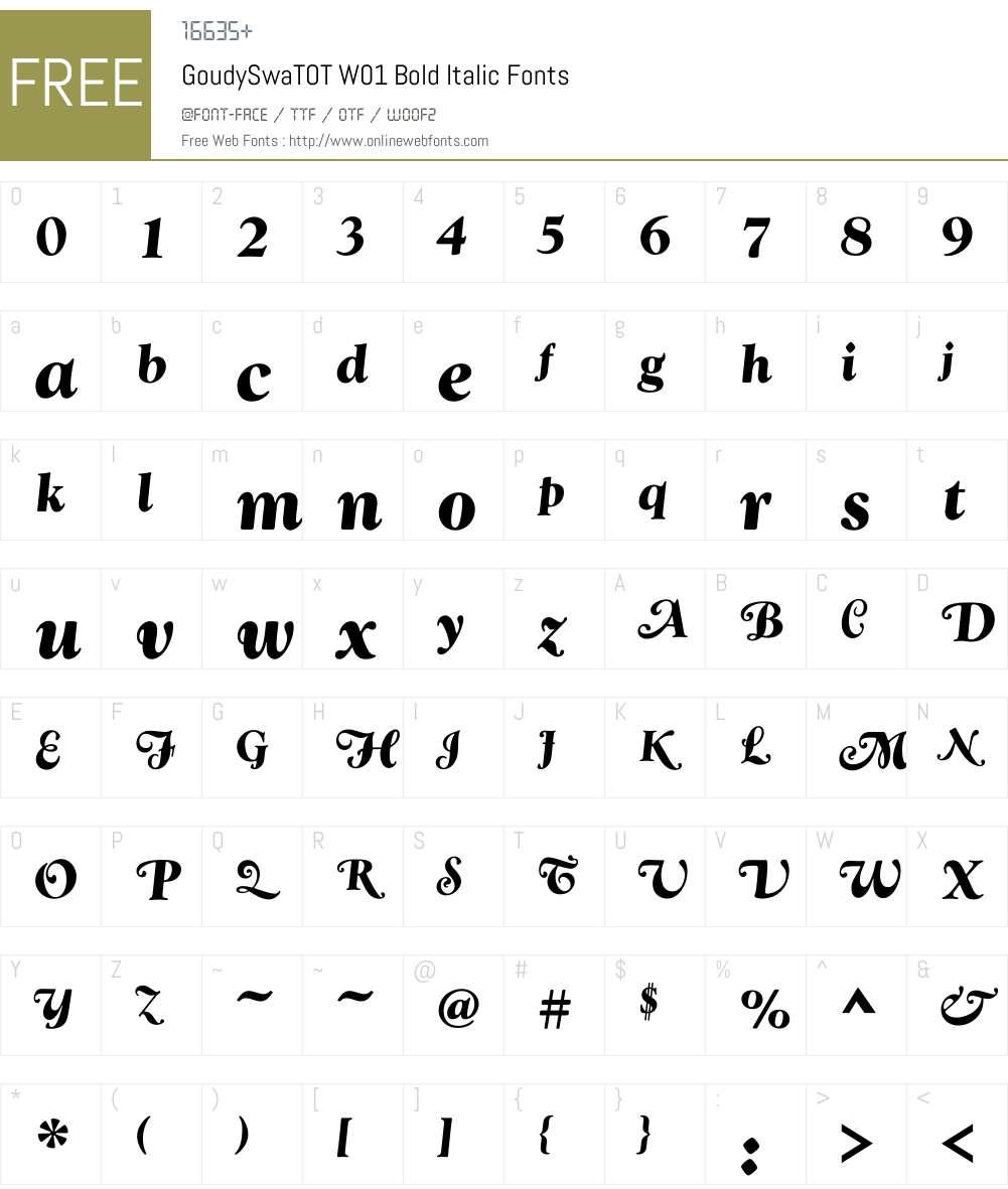 GoudySwaTOTW01-BoldItalic Font Screenshots