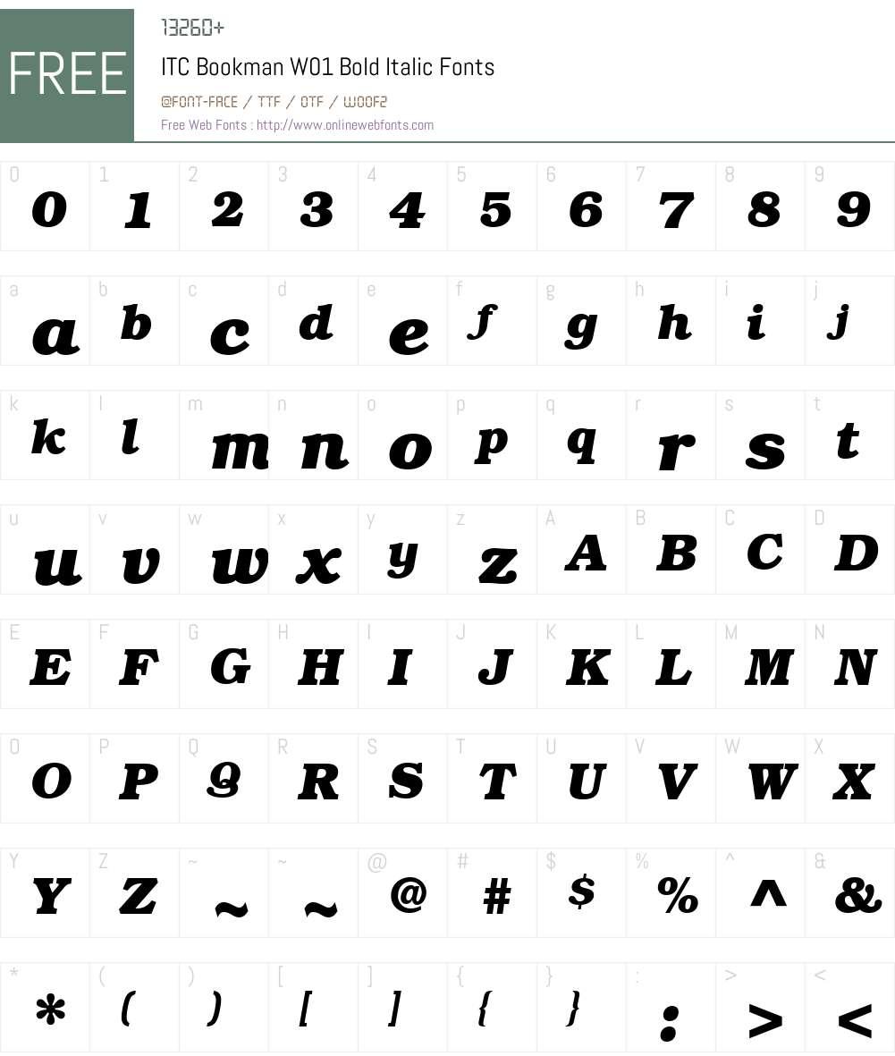 ITCBookmanW01-BoldItalic Font Screenshots