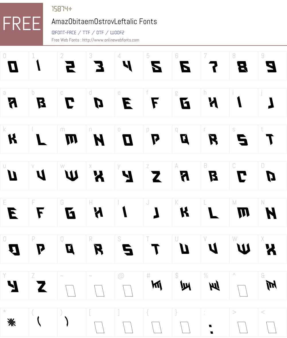 AmazObitaemOstrovLeftalic Font Screenshots
