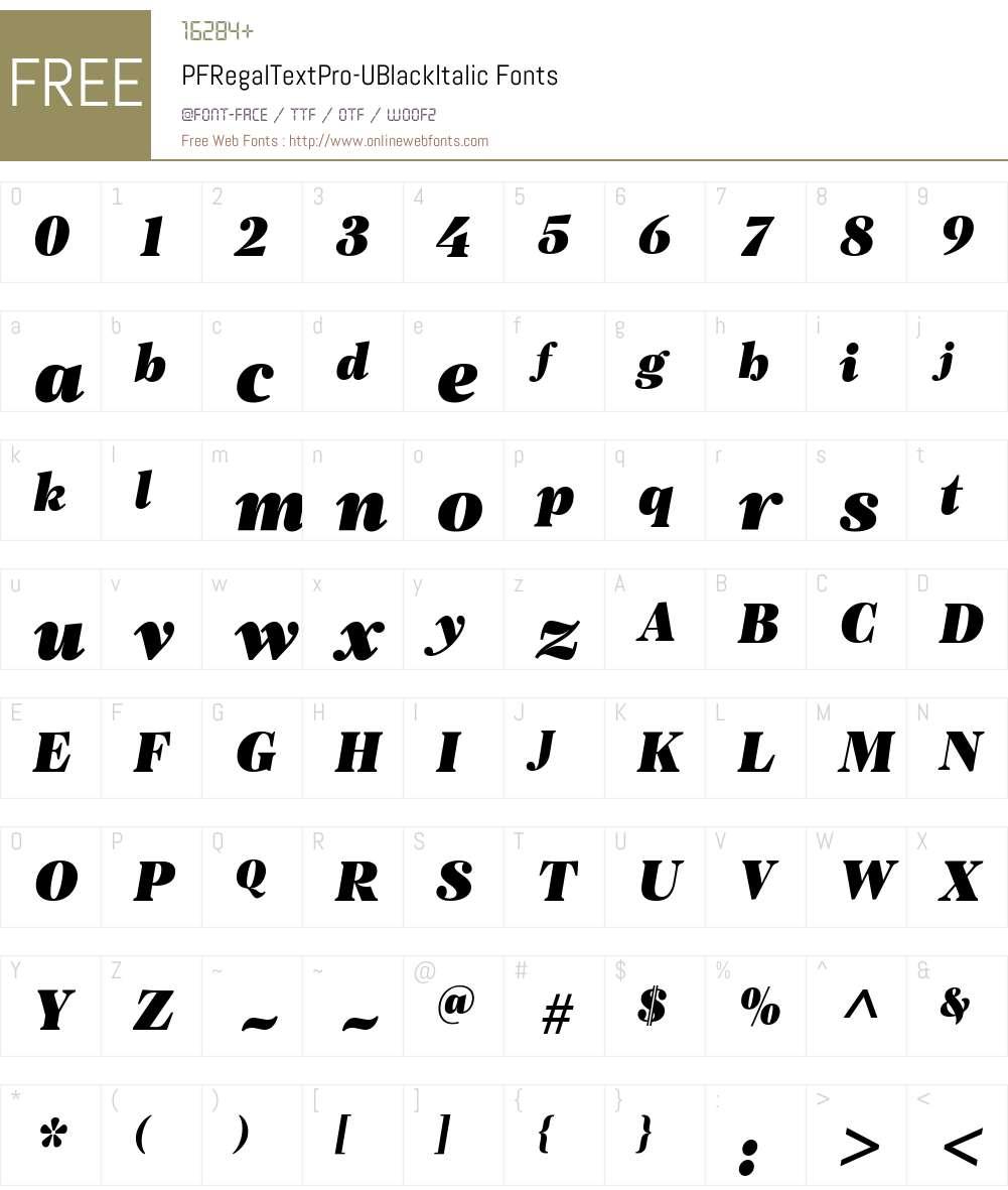 PF Regal Text Pro UBlack Font Screenshots