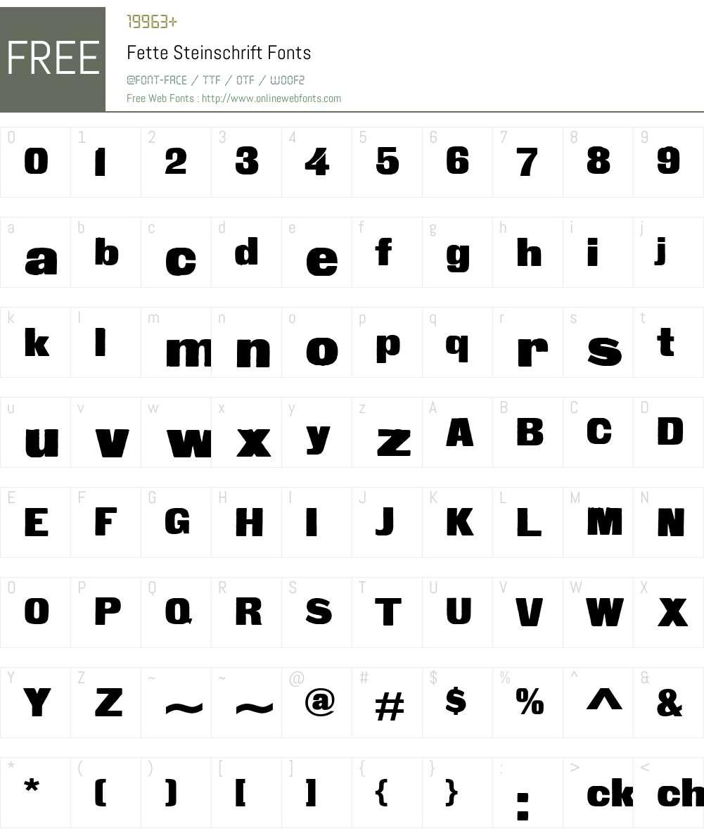 Fette Steinschrift Font Screenshots