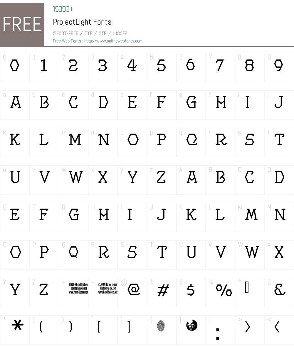 ProjectLight Font Screenshots