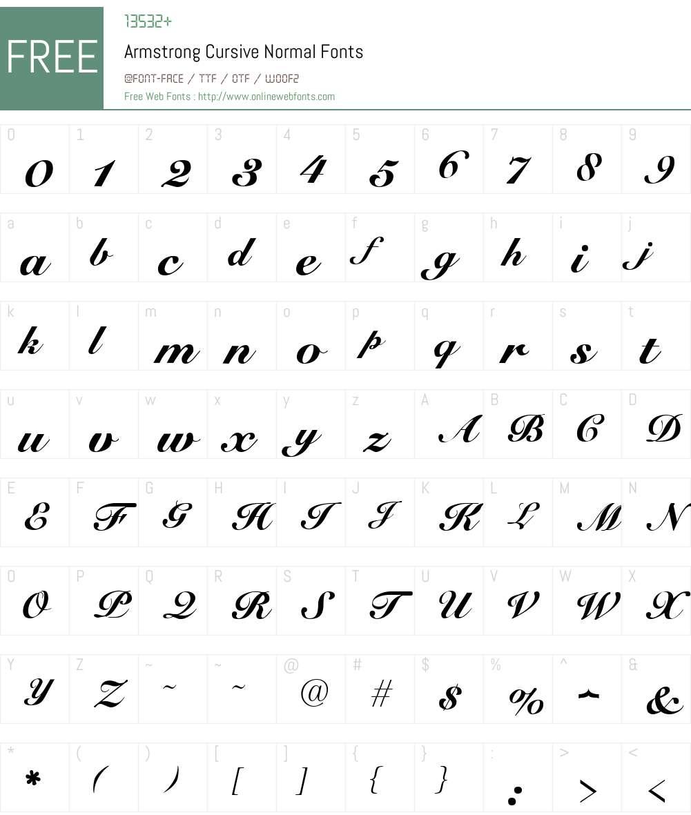 Armstrong Cursive Font Screenshots