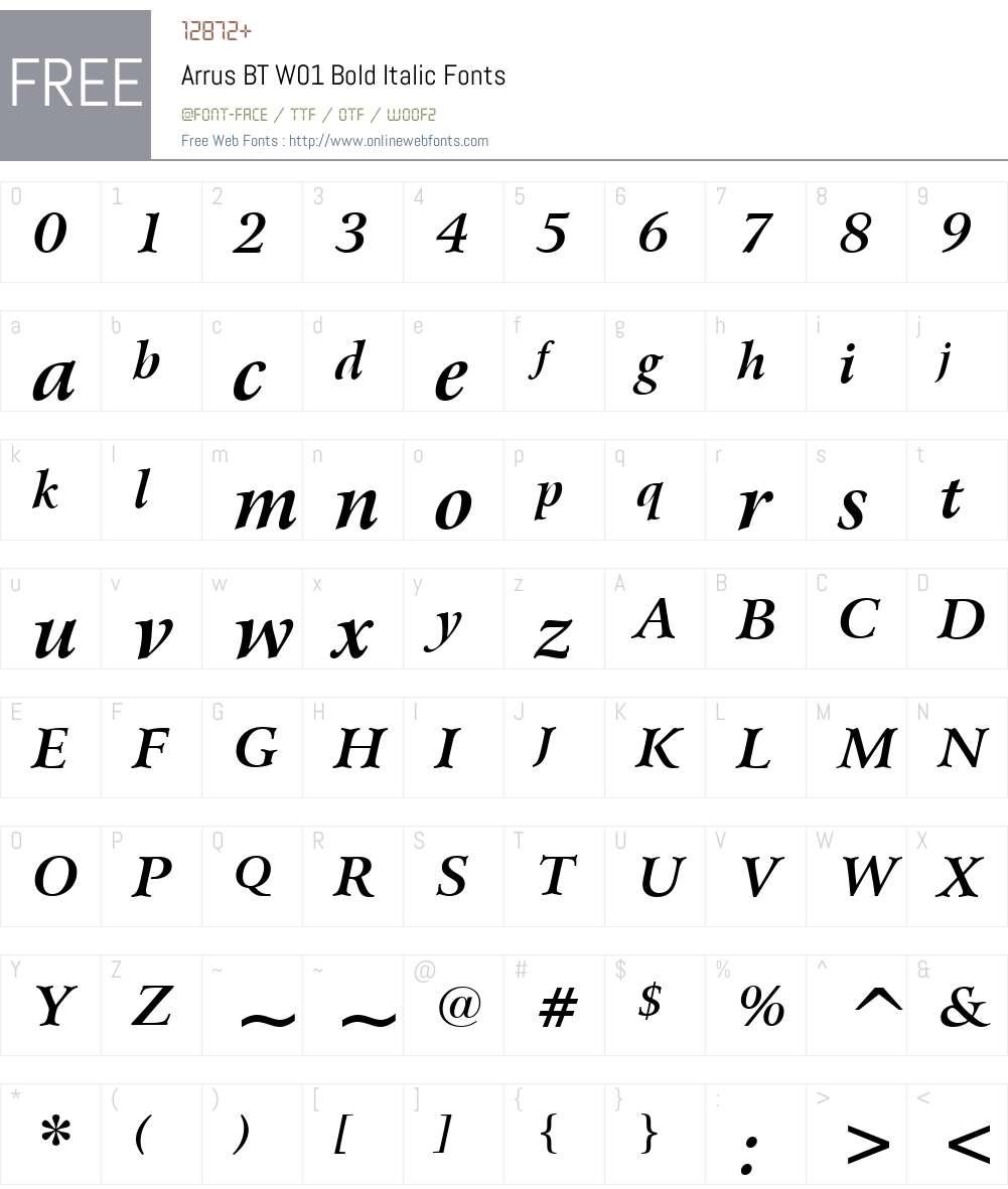 ArrusBTW01-BoldItalic Font Screenshots