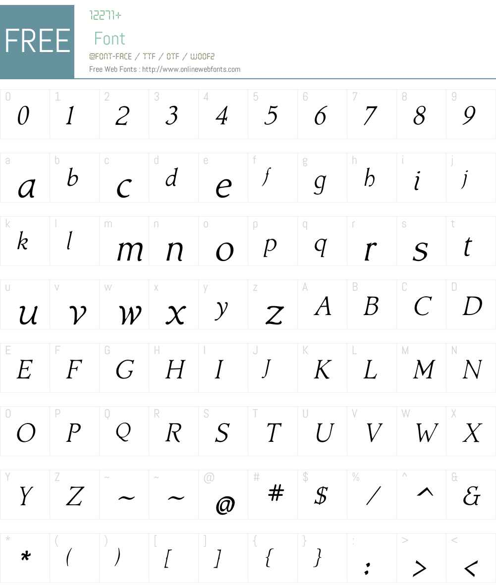 AcadamiW01-Italic Font Screenshots